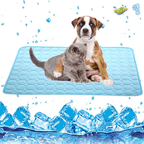 Dog Cooling Mat Large Cooling Pad Machine Washable Summer Cooling Mat for Dogs Cats Kennel Pad Breathable Pet Self Cooling Blanket Dog Crate Sleep Mat (2228IN, Blue)