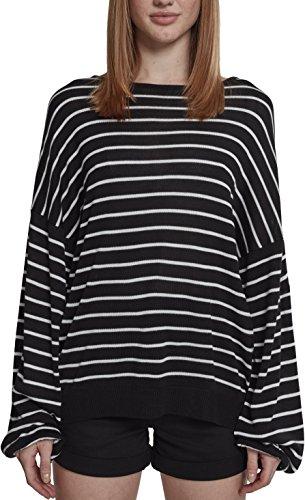 Urban Classics Damen Ladies Oversize Stripe Sweater Pullover, Mehrfarbig (Black/White 00826), Large (Herstellergröße: L)