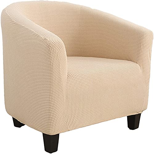 Poltrona Da Cocktail Chesterfield Fodere Coprisedia, Elasticizzato Jacquard Antiscivolo Fodere Coprisedia Tub Chair Copridivano (Cream Color)