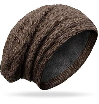 Grin&Bear M10 Bonnet long type beanie à gros tricot et polaire éponge - Marron - Taille Unique