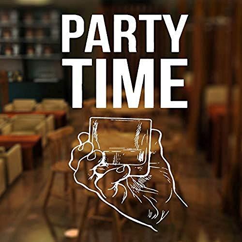 Fiesta Tiempo Cita Etiqueta de la Ventana Vinilo Bar Alcohol Restaurante Whisky Tequila Vino Agua Pared calcomanía extraíble Impermeable 42X72Cm