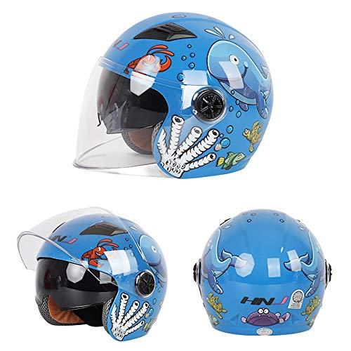 YAJAN-helm motorhelm voor kinderen, ABS EPS 44-50 cm 3-6 jaar oud, kinderhelm voor motorfiets, Harley, accu, auto mannen en vrouwen baby