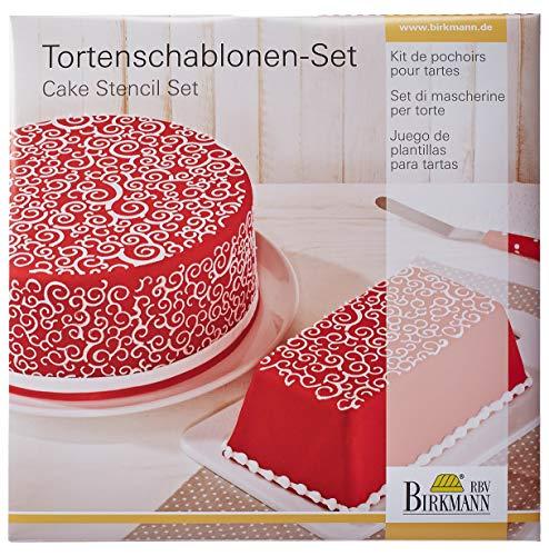 Birkmann 450271 Set de pochoirs Boucles pour gâteaux 2 pièces, Plastique, Blanc, 29 x 26 x 1 cm