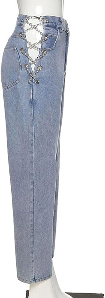 New Free Shipping WSSBK High Waist Hollow Max 74% OFF Out Chain Slim Leisur Woman Design Jeans