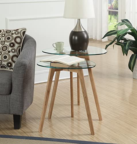 Best Convenience Concepts Clearview Nesting End Tables, Natural / Glass