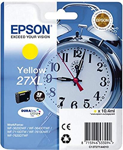 Epson Original 27XL Tinte Wecker (WF-3620DWF WF-3640DTWF WF-7110DTW WF-7210DTW WF-7610DWF WF-7620DTWF WF-7710DWF WF-7715DWF WF-7720DTWF, Amazon Dash Replenishment-fähig) gelb