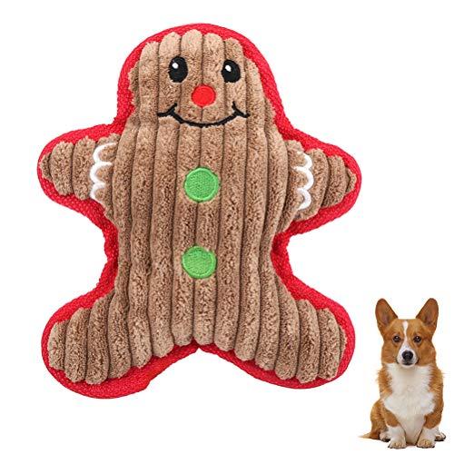 JiuRong Plüsch Weihnachten Haustier Hundespielzeug, Lebkuchenmann Geformt Quietschende Molaren Spielzeug für Hunde, Weihnachten Zähneknirschen Spielzeug mit Sound, Interaktive Kauspielzeug