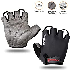 WOTEK Unisex Cycling Gloves Half Finger for Mountain Bike, Riding, Road Bike, Hiking, Mountaineering, Weight Training ADFHF / 005, Black, Large