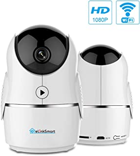 eLinkSmart 1080P Homes Security Camera, Wireless WiFi IP Camera for Home Surveillance with PTZ, Night Vision, 2-Way Audio, Motion Detection, Activity Alerts, 60 Days Free Cloud for Pet/Baby Monitor