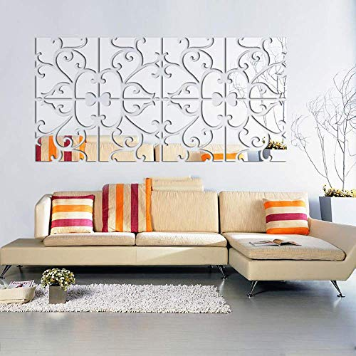 Acrylic Mirror Wall Sticker, 4 Pcs DIY Removable Waterproof Floral Mirror Wall Decals Decorative Murals Stickers, for Home Living Room Bedroom Office Hallway Sofa TV Wall Decoration (8pcs)