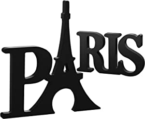 Blulu Paris Wood Decor Paris Themed Bedroom Decor Paris Word Sign Eiffel Tower Wood Table Sign Wooden Letters Table Decor for Girls Bedroom for Home Bedroom Living Room Office Decoration Supplies
