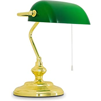 Classsic Bankers Lampe mit gr/ün-Glasfarbton und antike Messingbasis