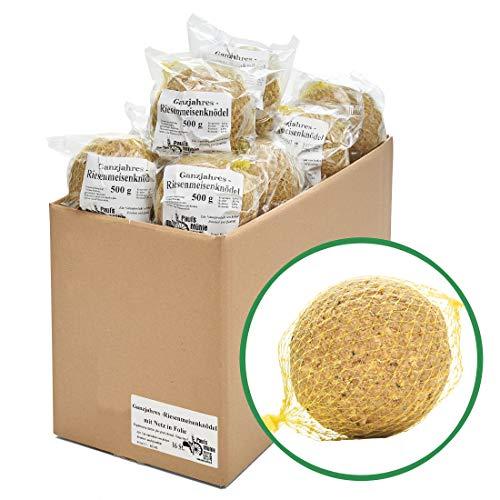 Paul´s Mühle Ganzjahres Riesen-Meisenknödel, Ganzjahresfutter für Wildvögel, reduzierter Schalen- und Nussanteil, mit Netz, 16 Stück (16 x 500 g)