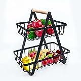 SINBLUE Frutero de metal, color negro, cesta de fruta, de pie, 2 niveles, color negro, moderno, grande para salón, dormitorio y cocina, 27 x 17 x 29 cm
