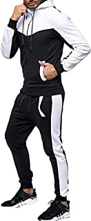 Men's Casual Contrast Color Jogging Sport Slim Tracksuit 2 Piece Oufits White Medium