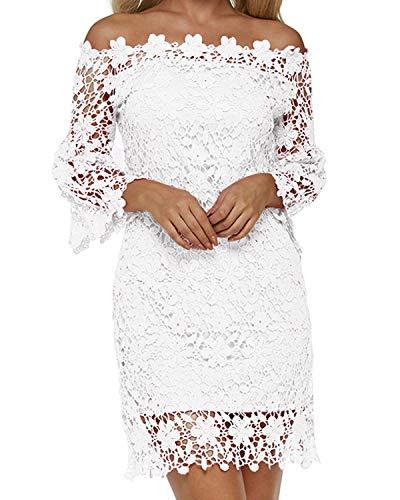 Auxo Damen Schulterfreie Langarm Kleider mit Spitze Elegant Blumen Kurz Abend Etuikleid Weiß EU 38/Etikettgröße M