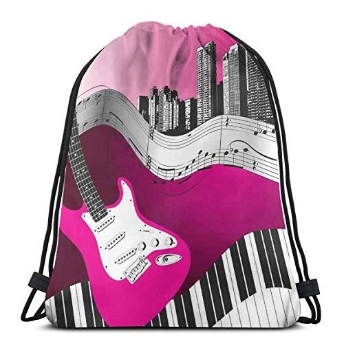 Jiger Drawstring Tote Bag gymnastiektas, bass gitaar keyboard Urban rock backdrop ritme of stad illustratie, premium kwaliteit gymtas voor volwassenen en kinderen