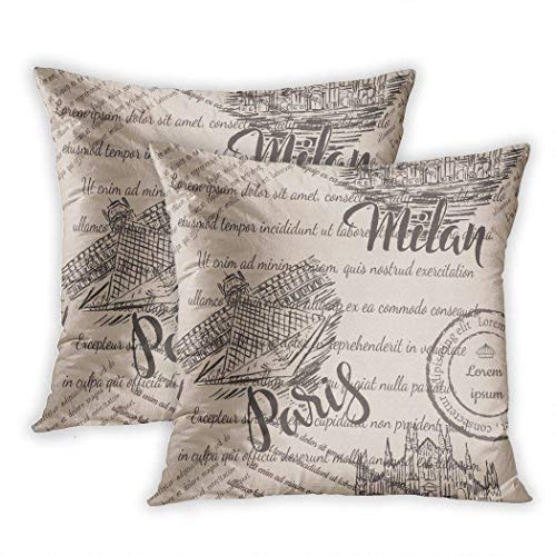 Marmori Albo Set of Two Sofa Fundas de Colchón Faded Text Milan Cathedral Lettering The Louvre Paris Polyester Soft Cozy Picture Custom Decorative Funda de Almohada for Sofa Bedroom 20x20 Inches
