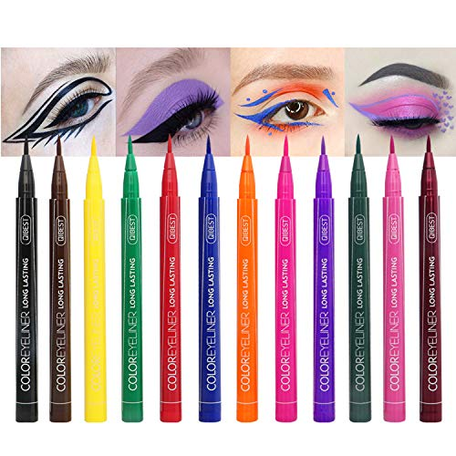 Rechoo 12 Farben Matte Liquid Eyeliner Set, Wasserdichter Superstay Langlebiger Matt Eyeliner Pencil von