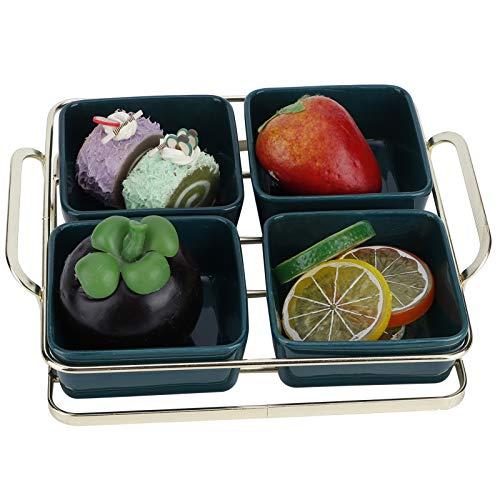 banapo Dessertschale, Serviertablett, mit Mehreren Porzellanschalen für Geschirrspüler, Mikrowellen, Gefrierschränke(Four Grid Green)