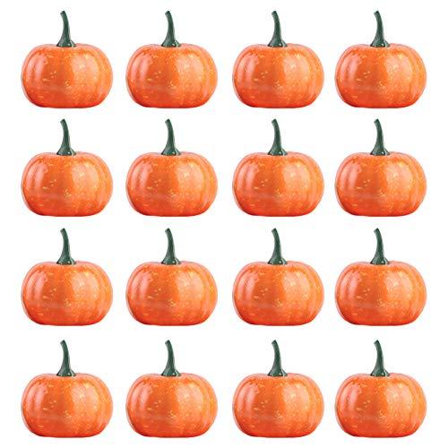 DOXMAL 16PCS Kürbis Halloween Gemüse Dekoration,Kürbis Orange Plastik Verzieren für Aussen Garten