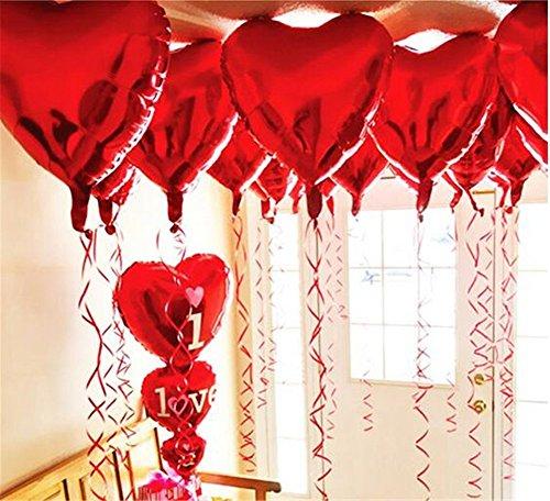 ximkee 10 Rot Herz Folie Helium Luftballons Valentinstag Hochzeit Verlobungsring Dekorationen