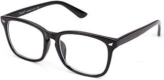 Cyxus(シクサズ)ブルーライトカットメガネ(透明レンズ)pcメガネ UVカット ウェリントンタイプ 紫外線カット パソコン用メガネ 輻射防止 アンチグレア 睡眠改善 目の疲れを緩和する 原宿眼鏡 ファッション男女兼用(黒縁)