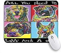 NIESIKKLAマウスパッド 愛と犬ゴールデンレトリバージャーマンシェパードパグ ゲーミング オフィス最適 高級感 おしゃれ 防水 耐久性が良い 滑り止めゴム底 ゲーミングなど適用 用ノートブックコンピュータマウスマット