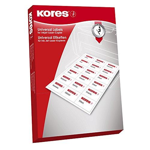 Kores LR060 - Universal Etiketten, 100 Blatt A4, Durchmesser 6 cm, weiß