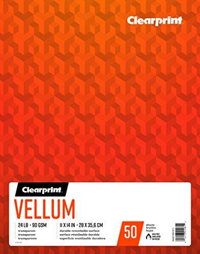 Clearprint vitela Pad, 24lb, 90g/m², 11x 14cm, 50hojas por bloc, 1cada (26321501311)