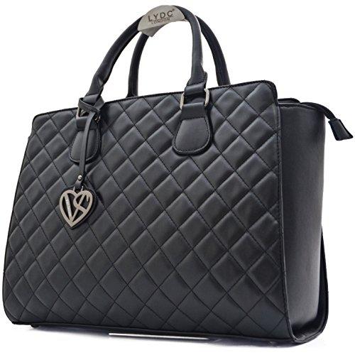 Vain Secrets Damen Handtasche mit Schulterriemen gesteppt oder in Saffiano Prägung (Schwarz Gesteppt)