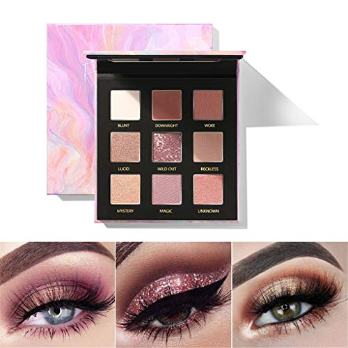 Posional Palette de Maquillage, 9 Couleurs Nude Matte Shimmer Glitter Ultra Pigmenté Maquillage Imperméable Longue Durée Facile à Colorer Naturel et Doux Yeux De Maquillage