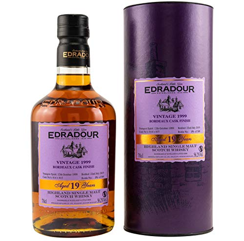 Edradour 19 Years Old Highland Single Malt BORDEAUX CASK FINISH Vintage 1999 Whisky (1 x 0.7 l)