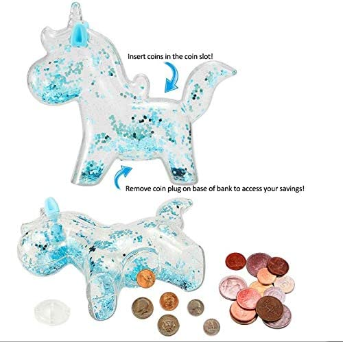 Purple Erebus Unicorn Piggy Banks Toy Gifts for Kids,Christmas Coin Cash Money Bank ATM Piggy Saving Bank,Plastic Cute Box for Real Money for Girls Boys Children Birthday