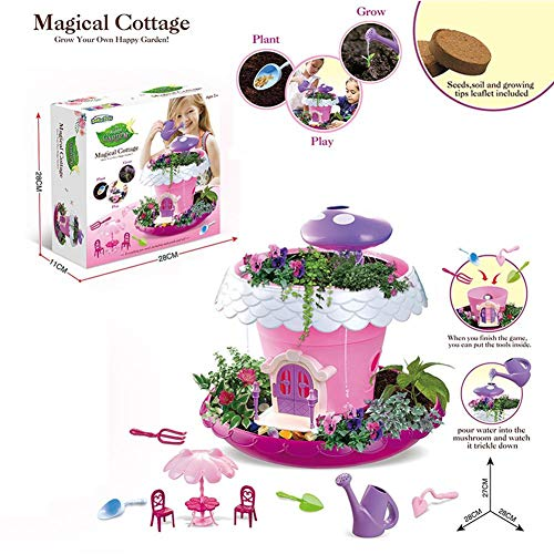 precauti Kit de juguete para niños de jardín de los niños de herramientas de jardín conjunto de juguetes de bricolaje jardín de hadas plantación en macetas juguetes educativos para niños niños niñas