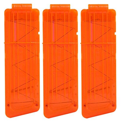 Clip Magazin, Foxom 3 Stück Soft Bullets Clip Magazin für 15 Darts für Nerf N-Strike Elite Series Spielzeugpistole (Orange)