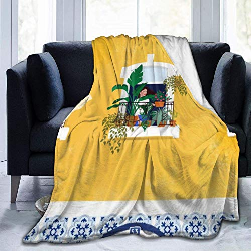 AEMAPE Manta de Tiro de niña de Lisboa, Manta Suave y cálida para Cama, Ropa de Cama, sofá, Oficina, Sala de Estar