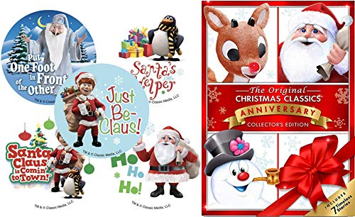 Sticker Christmas 7 Original Holiday Classics Frosty Snowman & Returns / Rudolph Red Nosed Reindeer / Cricket / Little Drummer Boy / Santa Claus Coming to Town Animated Collection Mr. Magoo's Carol