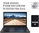 2020 Lenovo ThinkPad E15 15.6' FHD Full HD (1920x1080) Business Laptop (Intel 10th Quad Core i5-10210U, 16GB DDR4 RAM, 512GB PCIe SSD + 2TB HDD) Type-C, HDMI, Windows 10 Pro + IST 500GB Portable HDD