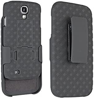Wydan Case for Samsung Galaxy S4 - Matte Black Swivel Slim Belt Clip Shell Holster Combo Armor Protective Defender Trendy Cover