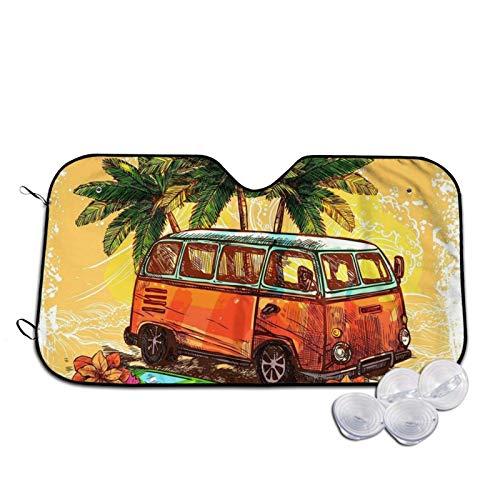 Hippie - Parasol clásico con tabla de surf impreso para parabrisas de coche, parasol para ventana frontal, rayos UV, protector de visera pequeña