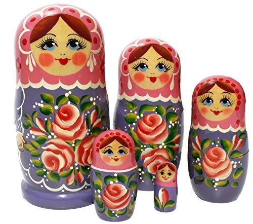 Semenovskay Rospis russische Matroschka Babuschka Matrjoschka Holzpuppen handbemalt Set 5 Puppen Blume (violett)