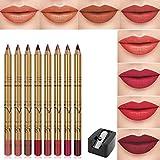 CCbeauty Lip Liners Pencil Set, Premium Waterproof Smooth Slim Lip Pencils, Long Lasting Matte Makeup Lipliners 8 Color Set with Sharpener