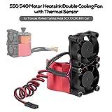Ajcoflt RC Car Motor Heatsink 550 540 Motor Double Cooling Fans with Thermal Sensor CNC Aluminum Alloy Heatsink Replacement for Traxxas Hsp Redcat Tamiya Axial SCX10 D90 HPI Car