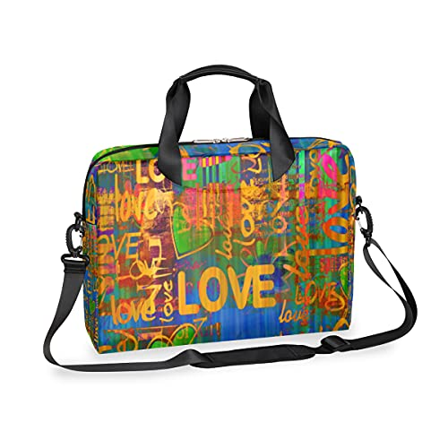 Vintage Art Graffiti Pattern Laptop Case Large Size Personalised Printed Shoulder Strap Handle Computer Bag Notebook Sleeve MacBook Pro Canvas Handbag Briefcase for 15-16 Inches