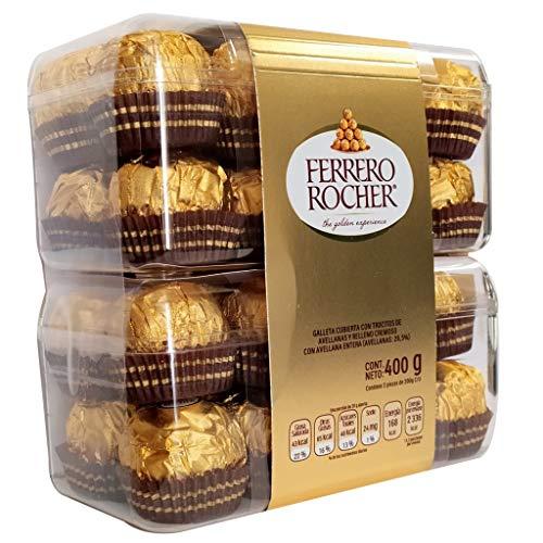 Ferrero Rocher Chocolate relleno con cobertura tipo galleta. 16 piezas x 2. | 32 chocolates | Ideal para regalo. 400 gramos.