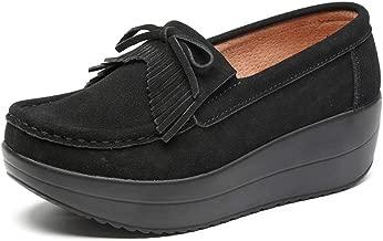 JOYBI Women Platform Loafers Shoes Round Toe Fashion Slip On Breathable Comfort Casual Flat Walking Shoes