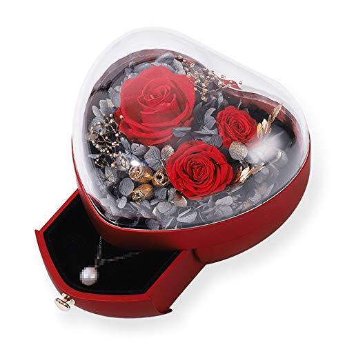 TWW Caja De Flores Preservadas En Forma De Corazón Caja De Regalo De Vaso Creativo para Boda Caja De Joyería Caja De Regalo De San Valentín Regalos para Amantes,Rojo