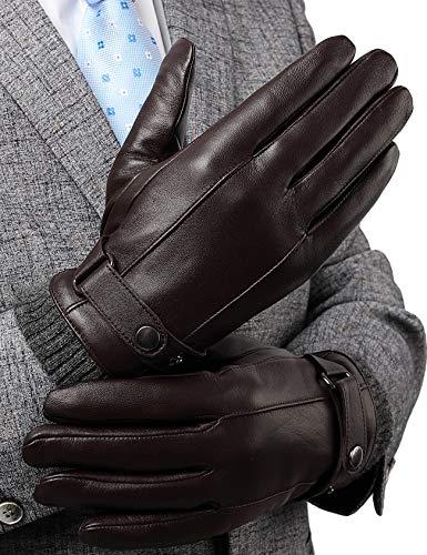 FLY HAWK  Lederhandschuhe, Herren Winterhandschuhe aus Echtem Leder Touchscreen Elegant Handschuhe Warm gefütterte Geschenk-Verpackung, L, Braun-stil B