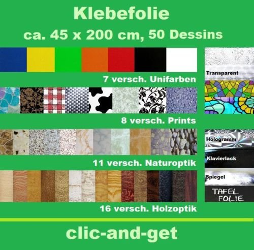 DRULINE Folie Dekorfolie Klebefolie Selbstklebefolie 45 x 200 cm über 50 Design (Wurzelholz) 3,85€/Meter